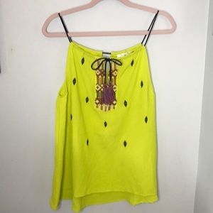Lime Green Esley Tank with Embroidery Size Small